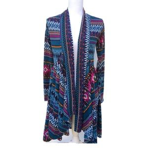 Pretty Young Thing Multicolor Tribal Open Cardigan